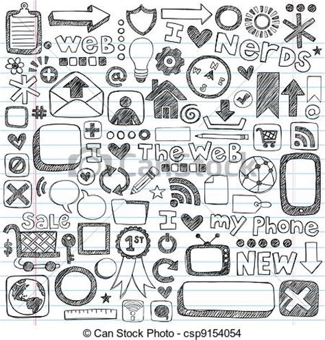 doodle free pc eps vector of web computer icons sketchy doodles web