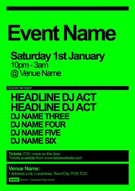 free event poster template dayglo poster template for a club event images frompo
