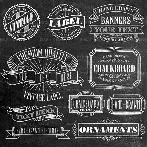 Wedding Font Gimp by Rustic Frames Clipart Rustic Boho Chalkboard Chalk