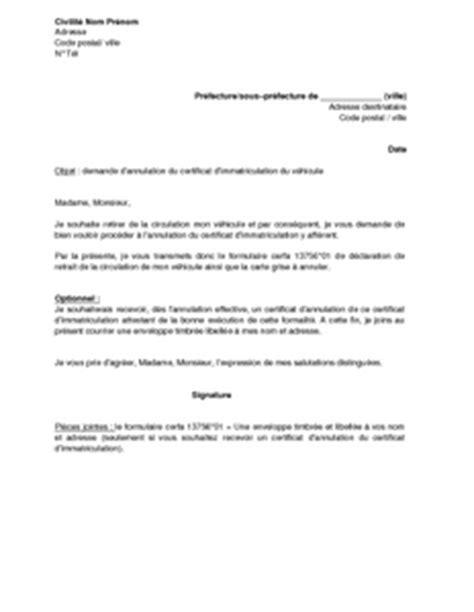 Exemple gratuit de Lettre demande annulation certificat