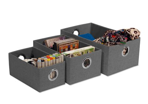 nesting storage containers 3 fabric nesting storage boxes in grey ebay