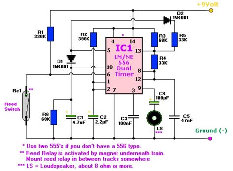 tone train horn based ne dual timer circuit schematic