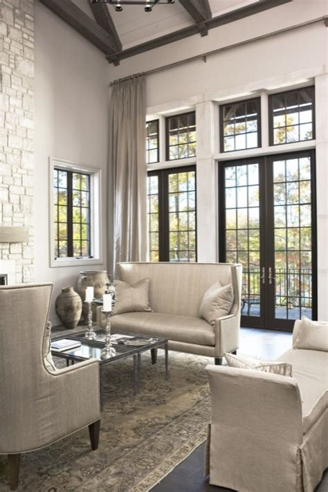 living room with doors and windows steel doors transitional living room sherwin williams anew gray mcdougald