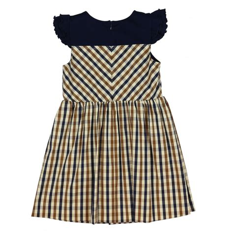 aquascutum girl s checked dress with frilly black sleeves