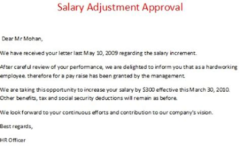 Request Letter For Payment Adjustment Salary Adjustment Approval
