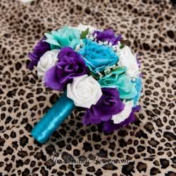 purple and turquoise wedding made purple turquoise and aqua teal blue bridal bouquet with malibu blue