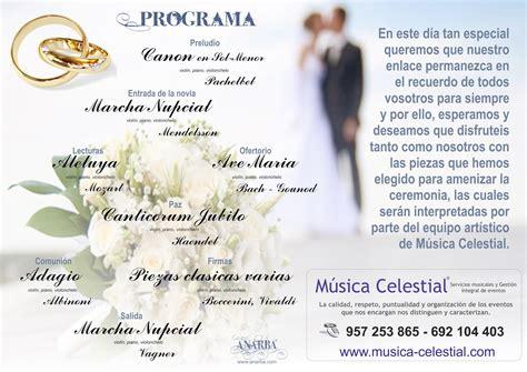 programa de recepcion de boda anarba m 250 sica celestial 174 programa de mano