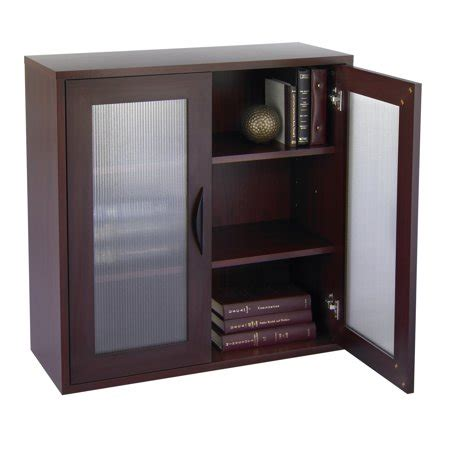 storage bookcase with glass doors 30 in high mahogany