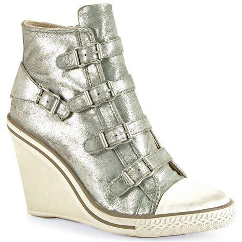 metallic sneaker wedges ash leather wedge sneaker in metallic lyst
