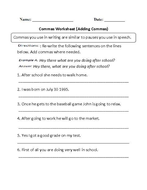 adding commas worksheet part 1 englishlinx com board