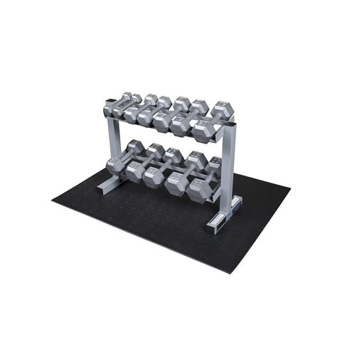 Solid Dumbbell Rack by Solid Dumbbell Rack With Hex Dumbbells