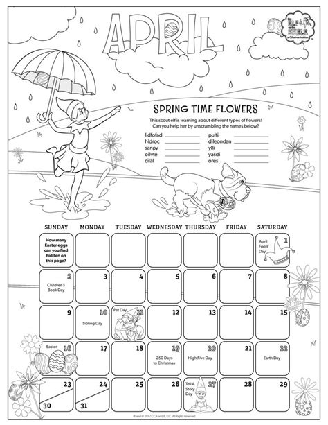 printable calendar ideas april 2017 printable calendar coloring pages for kids