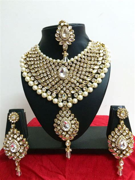 Fashion Bridal Jewelry Sets indian diamante kundan pearl gold tone bridal