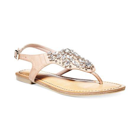 flat rhinestone shoes madden saadie rhinestone flat sandals in beige