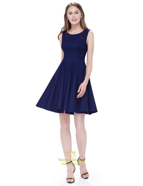 light pink fit and flare dress vintage navy blue scoop neck sleeveless fit and flare