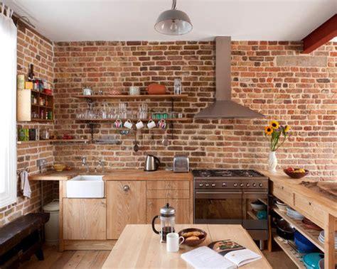 brick wall kitchen houzz