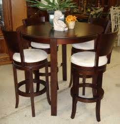 Charming Round Table With Leaf Dining Sets #10: Country-style-bistro-design-espresso-finish-counter-height-kitchen-tables-4-pieces-bar-stools-white-cushions-round-wooden-high-top-dining-table-5-pieces-solid-oak-wood-dinette-furniture.jpg