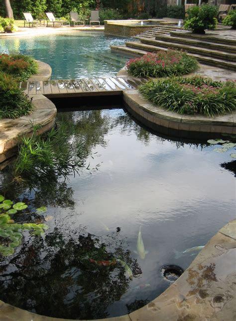 koi pond bridge koi pond and pool design with hidden barrier underneath