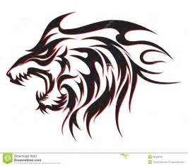 tribal wolf tattoo royalty free stock photos image 28459618