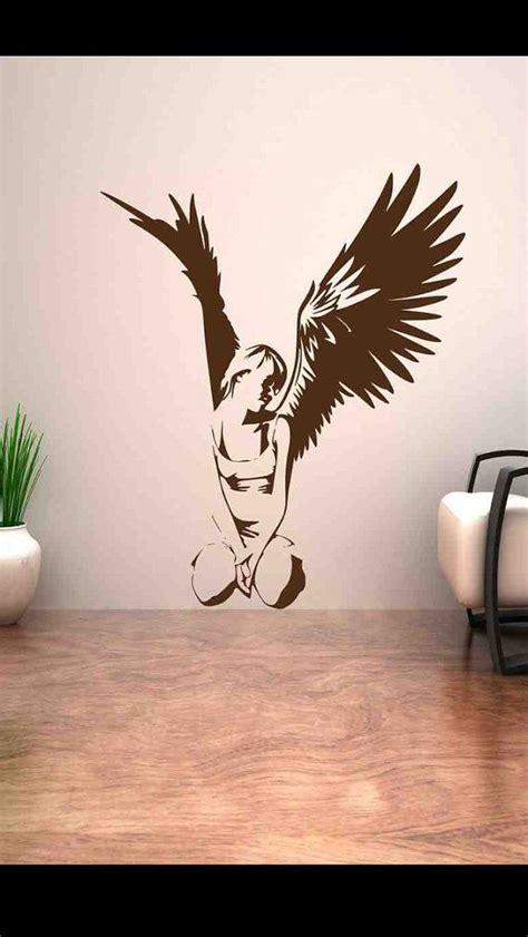 fallen angel heaven good wing girl wall art stickers decal