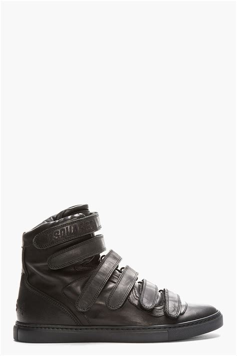 velcro sneakers mens lyst dsquared 178 black leather velcro sneakers in black