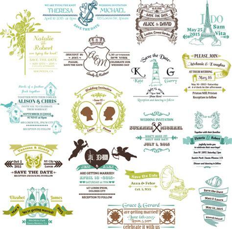 wedding design elements vector free set of wedding logo design elements vector free vector in