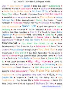 101 ways to praise a bilingual spanish english child printable