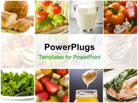 Powerpoint Template Food Collage With Fresh Fruits Vegetables Milk Depicting Healthy Food Powerpoint Templates