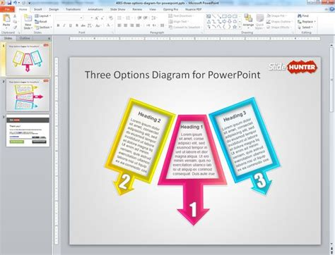 powerpoint layout options free 3 options diagram for powerpoint presentations