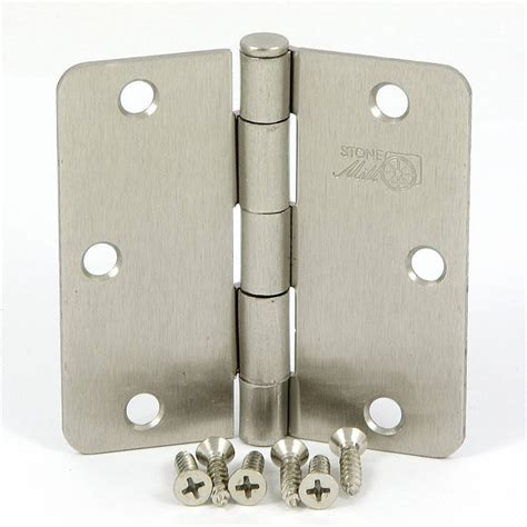 Interior Door Knobs And Hinges Shop Mill Hardware 2 Pack 3 5 In H Satin Nickel 1 4 In Radius Interior Mortise Door Hinge