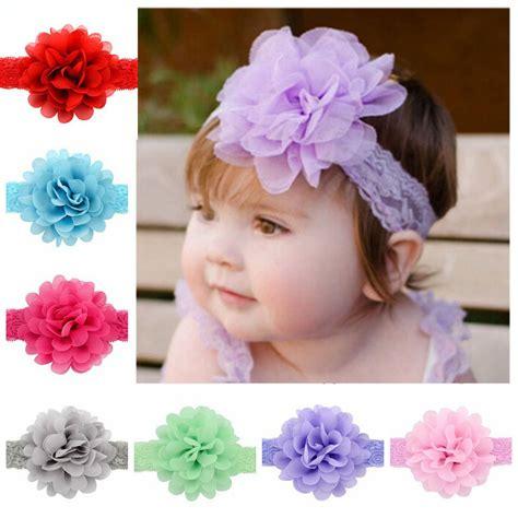 infant lace headbands baby chiffon flower headband children hair accessories kid elastic