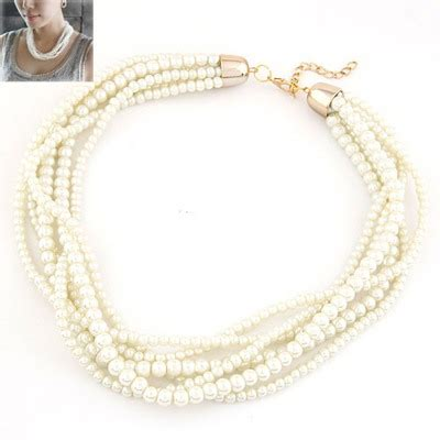 ethnic white multilayer pearl simple design asujewelry