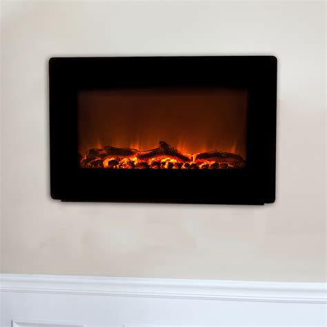 wall mount electric fireplace realistic remote