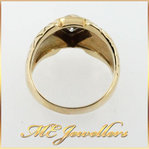 Top Dress Rings Ka2914 mens ring with 0 50ct in 18k yellow gold me jewellers