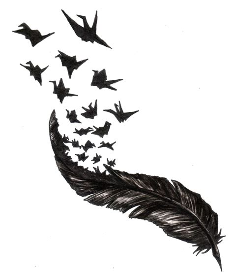 feather with birds flying out tattoo feather with birds flying out