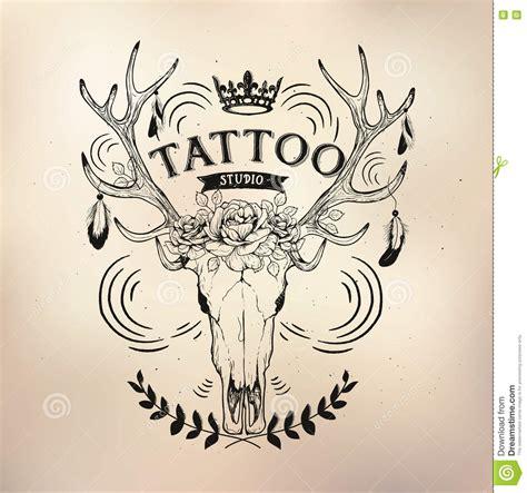 tattoo old school logo tattoo old school studio skull deer stock vector image