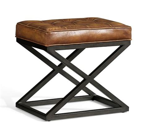 X Stool by Kirkham Tufted Leather X Base Stool Pottery Barn