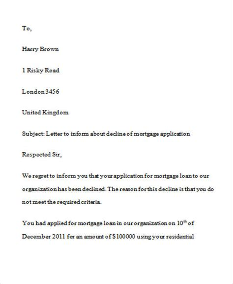 Finance Decline Letter Template loan rejection letters 7 free sle exle format