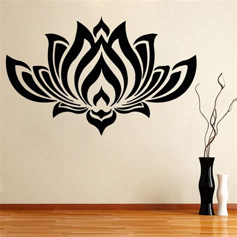 Butterfly And Flower Wall Stickers wall decals bedroom yoga studio decal lotus flower vinyl