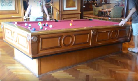 a gyroscopic self leveling pool table on a cruise ship