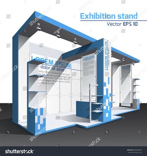 exhibition stand design template realistic vector exhibition stand design blue stock vector