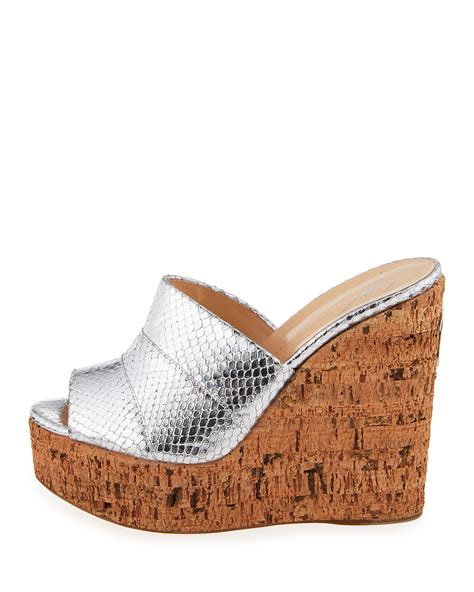 Giuseppe Zanotti Architectural Wedge Sandal It Or It by Giuseppe Zanotti Roz Snake Embossed Wedge Sandals In