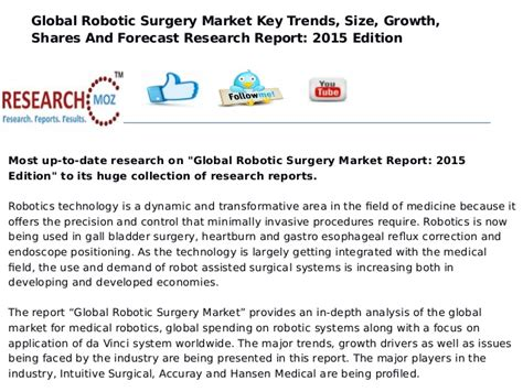 Report Had Recent Surgery by Global Robotic Surgery Market Report Research