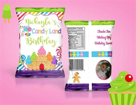 templates for bag of chips invitations printed candy land themed treat bag potato chip bag read