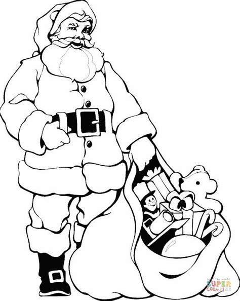 santa bag coloring page coloriage p 232 re no 235 l avec sa hotte pleine de cadeaux