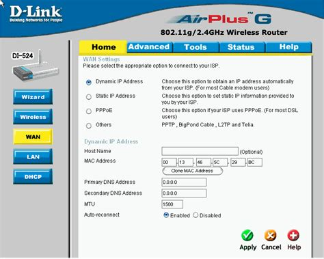 how do i configure di 524 wan settings for cable modem d link malaysia