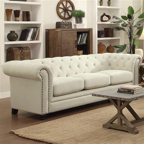 coaster fabric button tufted sofa  cream