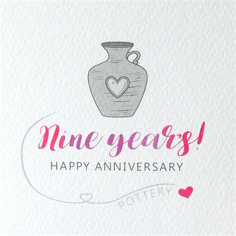 9th wedding anniversary on pinterest 9th anniversary 9th wedding anniversary card pottery by miss shelly