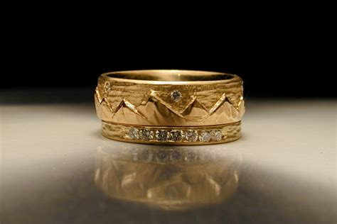 carved mountain gold wedding band for grooms onewed com