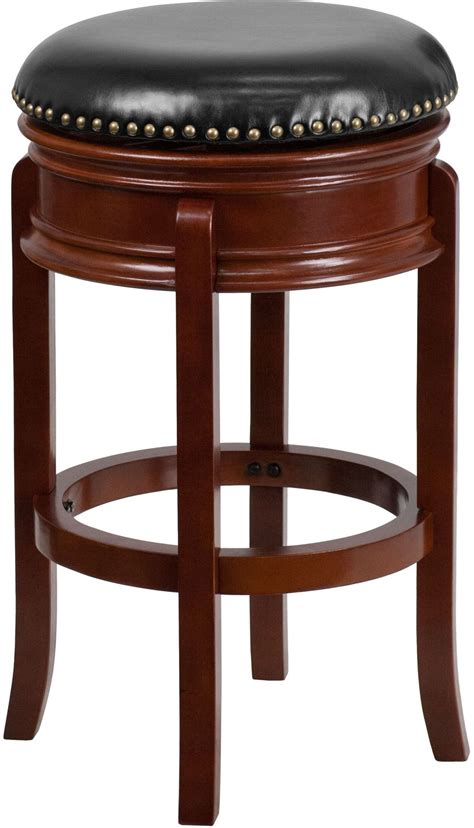 Light Cherry Bar Stools by 29 Quot Transitional Black Swivel Backless Light Cherry Wood